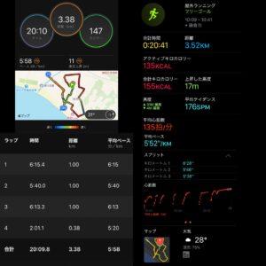 """8月7日(土)【3.52km(5'52"""")】"""
