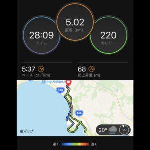 """9月2日(木)【5.02km(5'37"""")】MAP"""