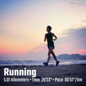 "8月30日(月)【5.01km(5'52"")】in材木座海岸"