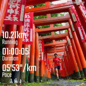 """9月11日(土)【10.21km(5'53"""")】in佐助稲荷神社"""