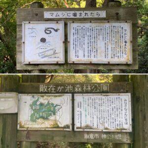 散在ガ池森林公園のマムシ看板