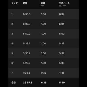 """9月12日(日)【6.36km(5'49"""")】"""