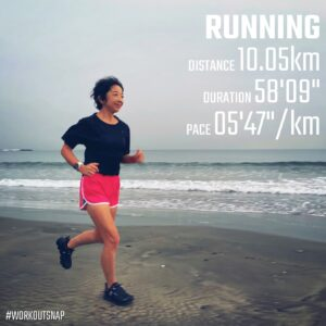 "9月9日(木)【10.05km(5'47"")】in材木座海岸"