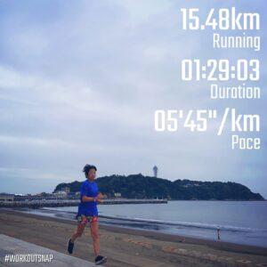 """9月17日(金)【15.48km(5'45"""")】in江の島付近"""