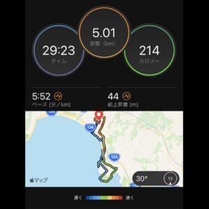 """8月30日(月)【5.01km(5'52"""")】MAP"""