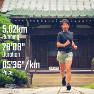 """9月2日(木)【5.02km(5'37"""")】in九品寺"""