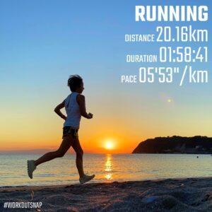 """9月20日(月)【20.16km(5'53"""")】in逗子海岸"""