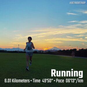 """9月23日(木)【8.01km(6'13"""")】in柳島スポーツ公園"""
