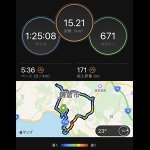 """9月7日(火)【15.21km(5'36"""")】MAP"""