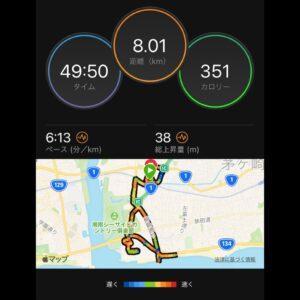 """9月23日(木)【8.01km(6'13"""")】MAP"""