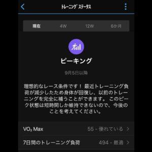 """9月5日(日)【7.21km(5'31"""")】トレーニングステータス"""
