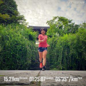 """9月7日(火)【15.21km(5'36"""")】in海蔵寺"""