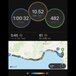 """9月15日(水)【10.52km(5'45"""")】MAP"""