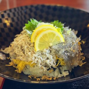 「池田丸」の生シラスと釜揚げシラスの2食丼