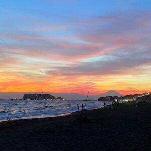 七里ガ浜の夕陽