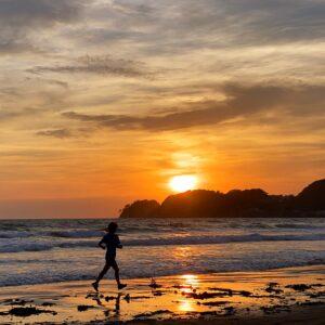 材木座海岸の夕陽
